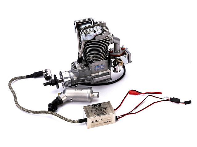 SAITO FG-40 Gasoline Engine (4Tempi Benzina) con centralina, castello motore in alluminio e silenziatore