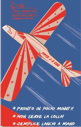 Sky Boy- J3 Piper aliante in balsa lancio a mano